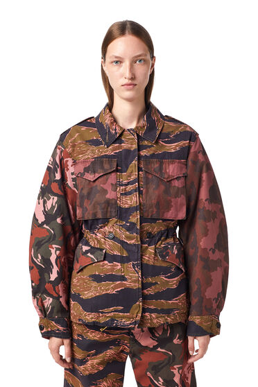 Panelled jacket with mixed camo prints