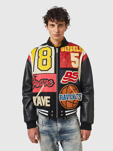 Varsity jacket in wool and leather