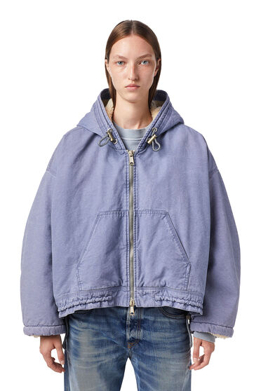 Jacket in canvas and teddy