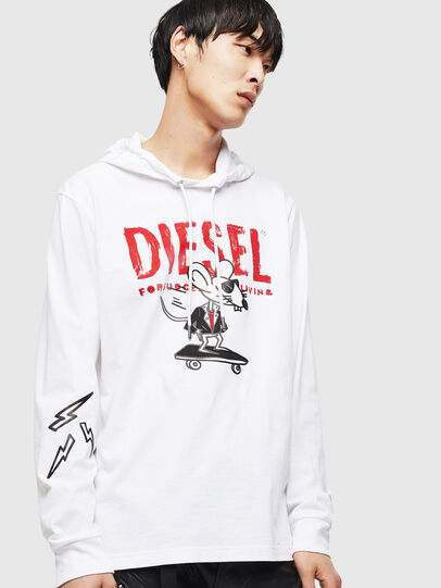 Diesel - CL-T-JUST-LS-HOOD, White - T-Shirts - Image 1