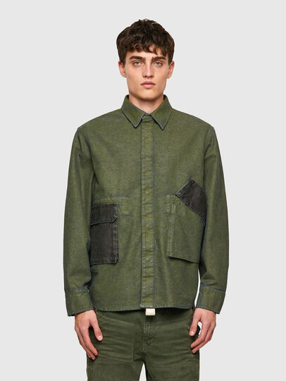 Diesel - D-CORU-SP, Verde Militar - Camisas de Denim - Image 1