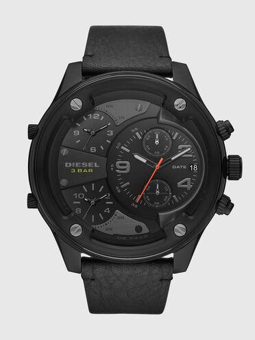 Boltdown three-hand black leather watch