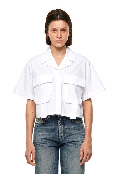 Camisa militar de popelín de algodón