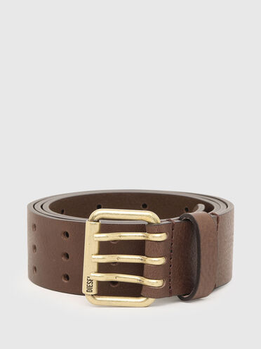 Leather belt with triple-pin buckle