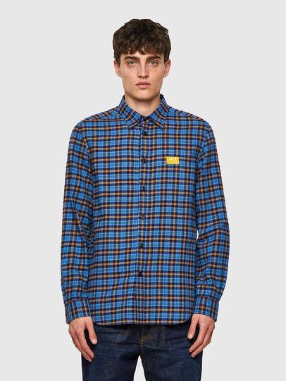 Diesel - S-MOI-CHK-A, Blue/Yellow - Shirts - Image 1