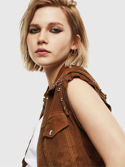 Diesel - L-TAHALI, Brown - Leather jackets - Image 6