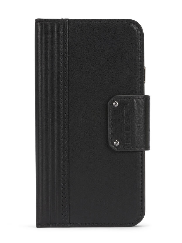 BLACK LINED LEATHER IPHONE 8 PLUS/7 PLUS FOLIO,  - Flip covers