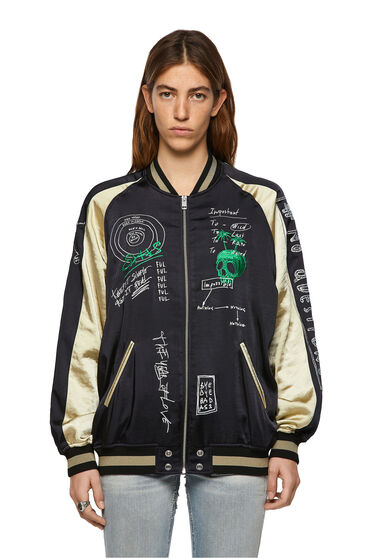Reversible bomber jacket with embroidery