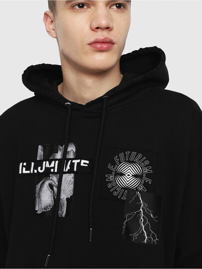 Diesel - S-ALBY-HOOD-Y1, Black - Sweatshirts - Image 3