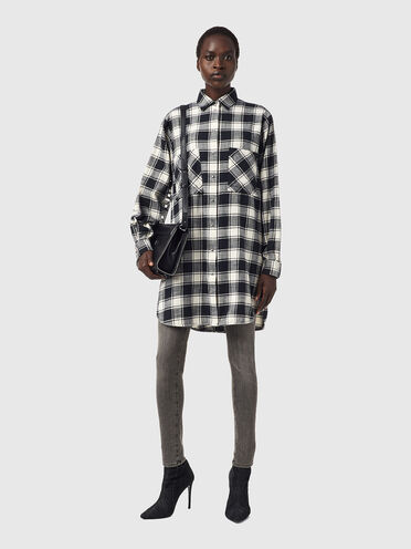 Shirt dress in check flannel