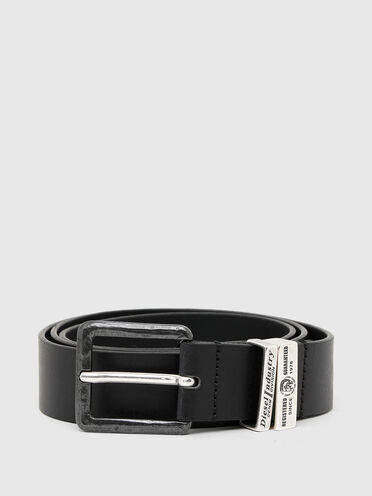 Durable leather belt with two metal loops