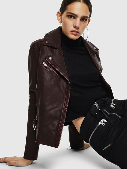 Diesel - L-YLE, Burgundy - Leather jackets - Image 6