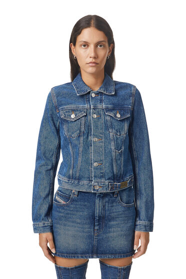 Cropped trucker jacket with stone wash