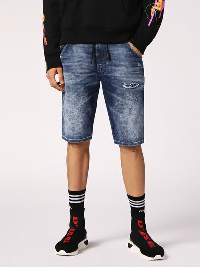 Diesel - KROOSHORT JOGGJEANS, Medium Blue - Shorts - Image 4