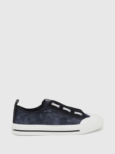 Low-top sneakers in denim and suede