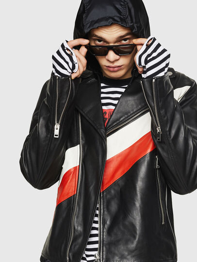 Diesel - L-SOLOVE, Black/Red - Leather jackets - Image 3