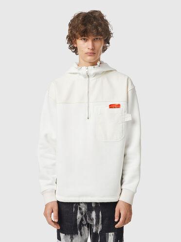 Half-zip hoodie with felt panels