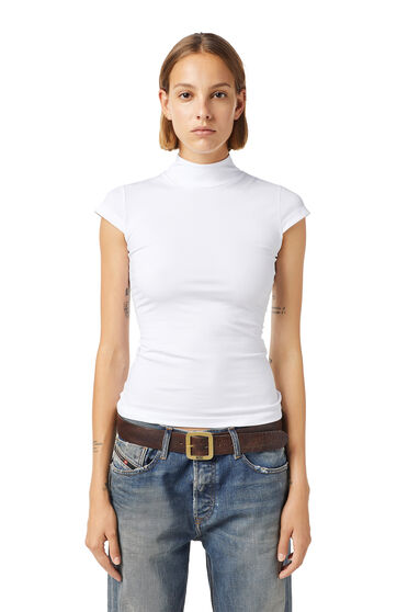 Mock-neck top in stretch jersey