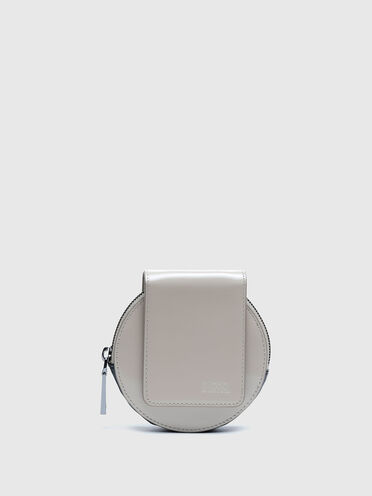 Round mini bag wallet in shiny leather