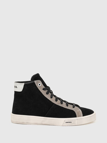 High-top sneakers in treated suede