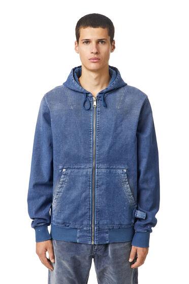Sweat jacket in flocked fabric