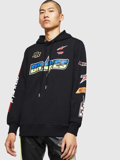 Diesel - ASTARS-S-GIR-HOOD, Black - Sweatshirts - Image 1