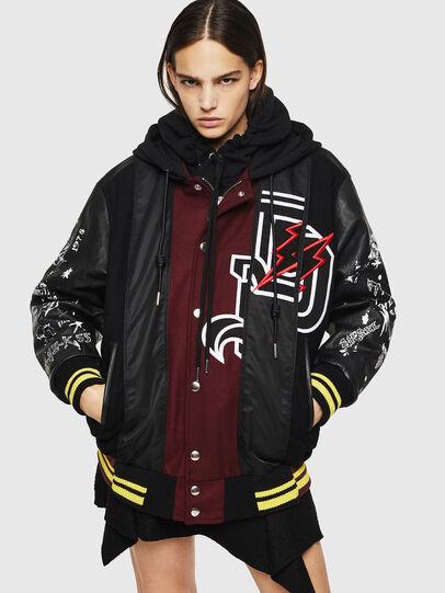 Diesel - W-ANTONIA, Black/Red - Winter Jackets - Image 1