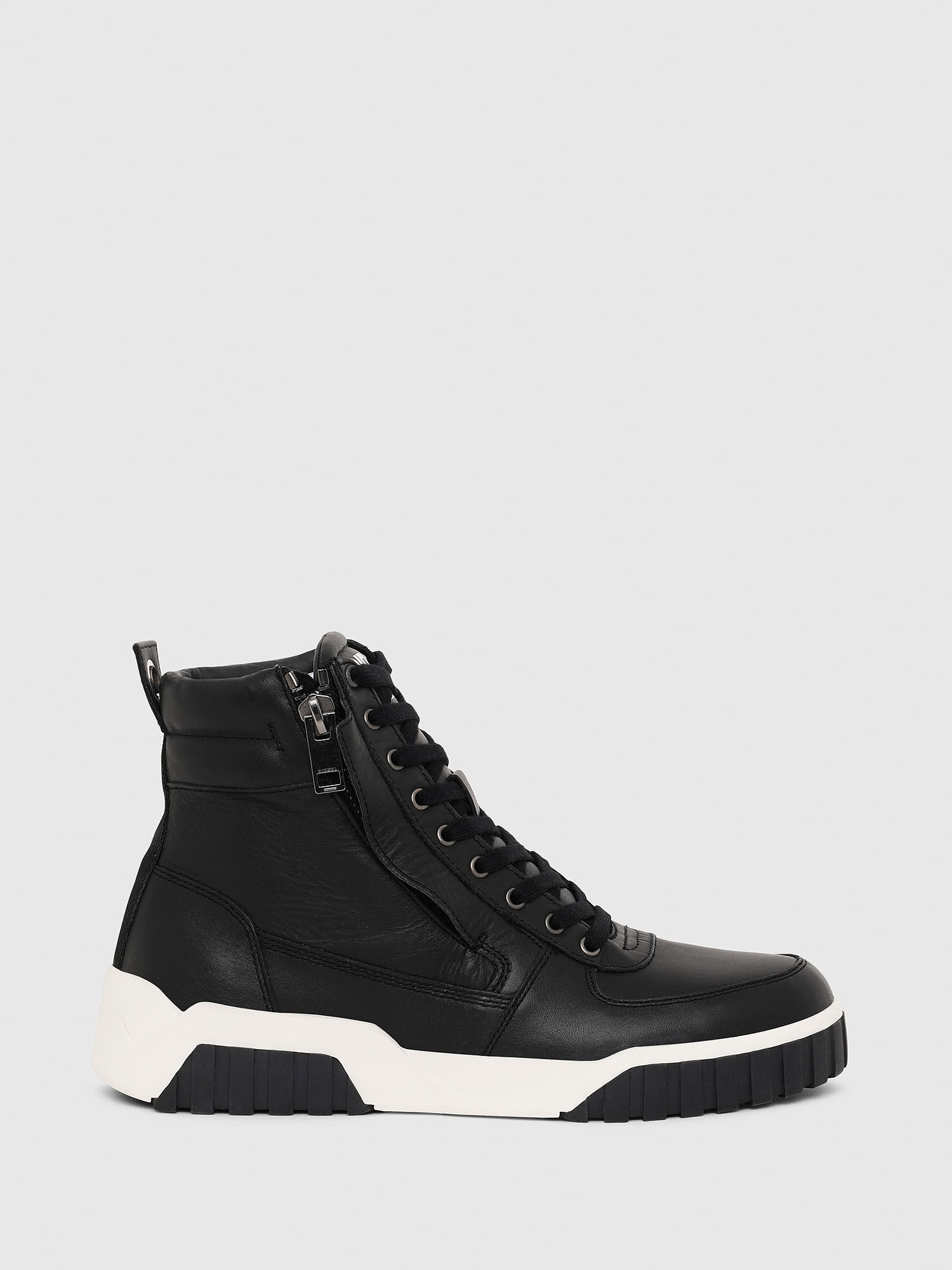 High top sneakers in panelled leather
