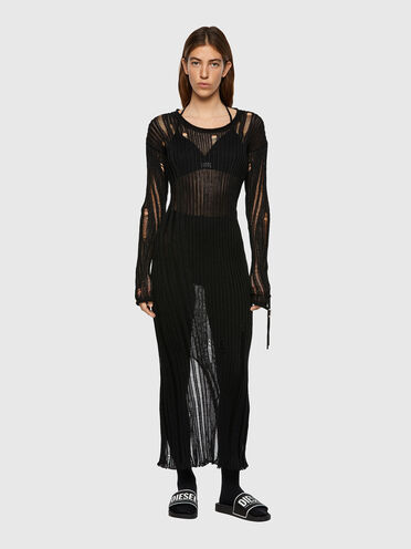 Open-knit dress with destroyed effect