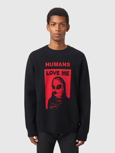 Pullover with Alien Woman intarsia