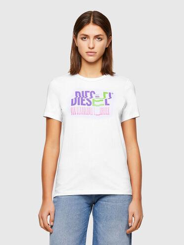 Camiseta de algodón con logotipo con efecto de error