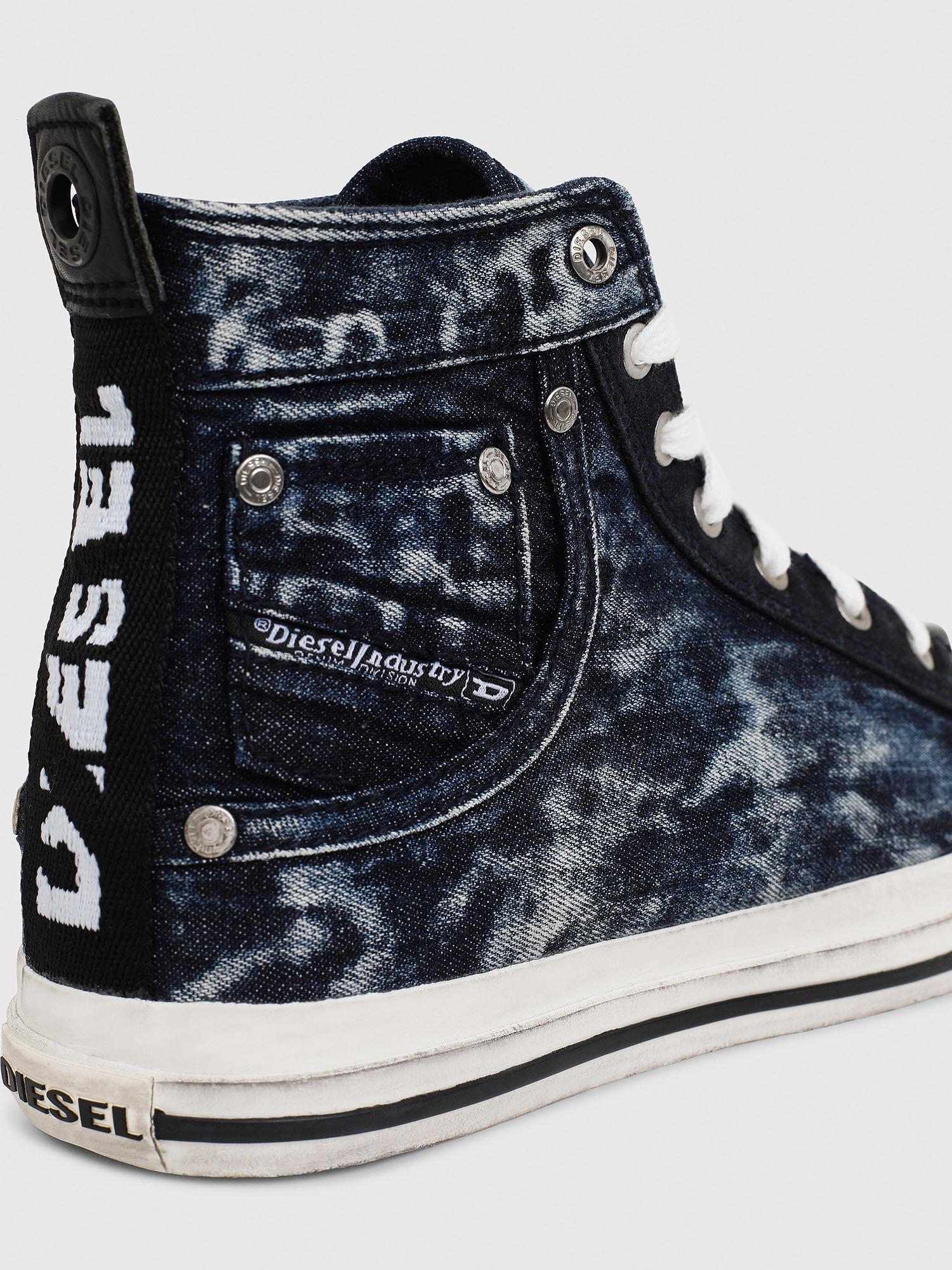 High-top sneakers in distressed denim