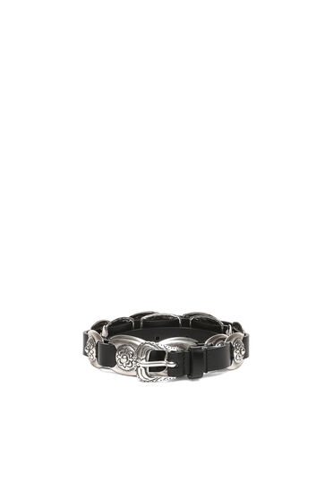 Leather belt with embossed hardware