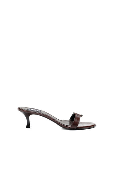 Sandals in croc-embossed leather