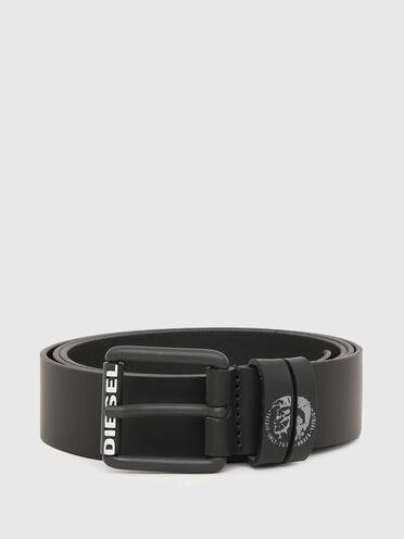 Leather belt with Mohawk logo