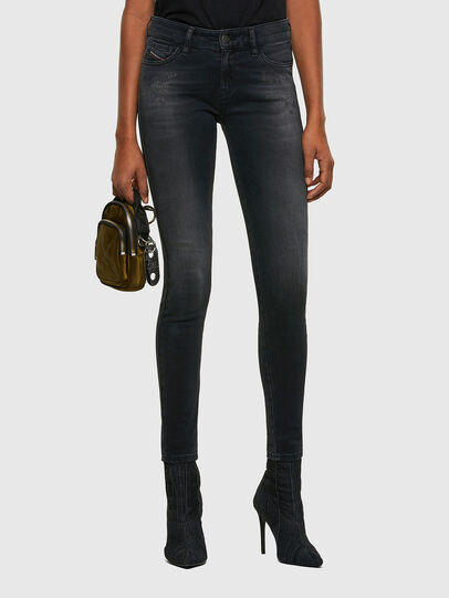 Diesel - Slandy Skinny Jeans 069SB, Black/Dark Grey - Jeans - Image 1