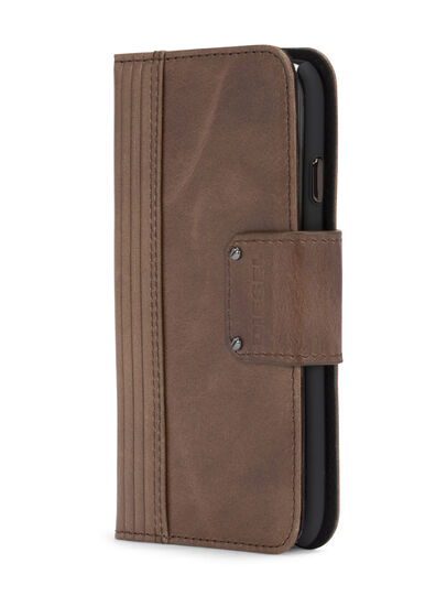 Diesel - BROWN LINED LEATHER IPHONE 8/7 FOLIO, Brown - Flip covers - Image 2
