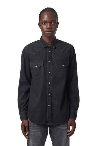 Western shirt in washed denim