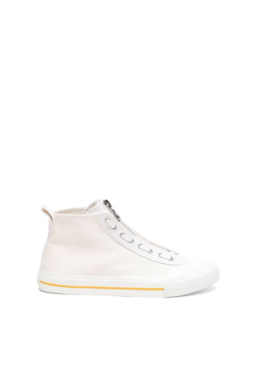 High-top sneakers in washed denim