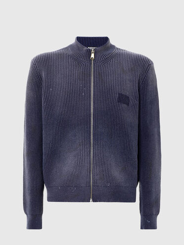 Treated zip-up cardigan