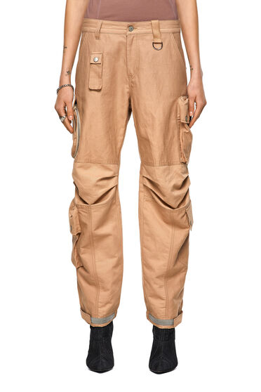 Cargo pants in cotton-linen twill