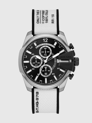 Baby Chief chronograph white canvas watch