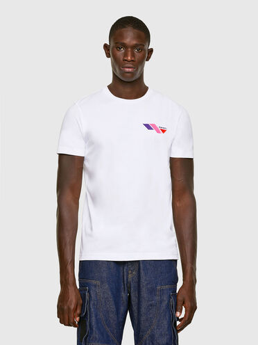 T-shirt with colour-block logo print