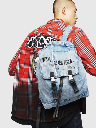 Diesel - VOLPAGO BACK, Blue Jeans - Backpacks - Image 7