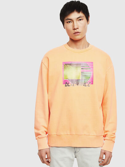 Diesel - S-BIAY-FLUO, Orange - Sweatshirts - Image 1