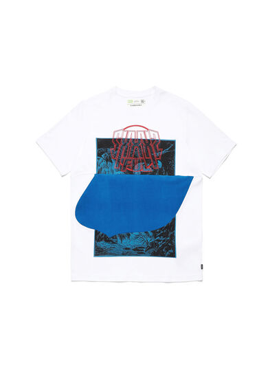 Diesel - D-SHIELD-BLU, White - T-Shirts - Image 1