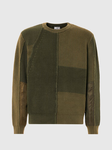 Patchwork pullover in textured knit