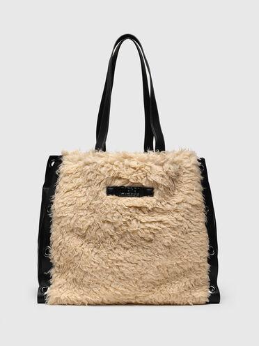 Large shopper in faux fur
