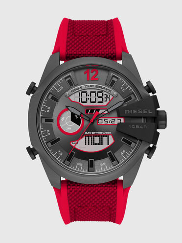 Mega Chief analog-digital red nylon and silicone watch
