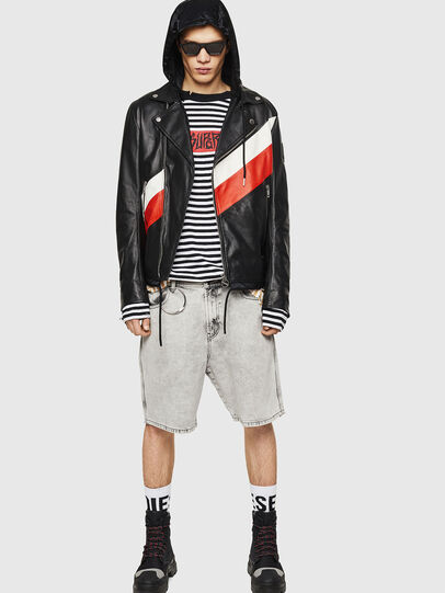 Diesel - L-SOLOVE, Black/Red - Leather jackets - Image 6